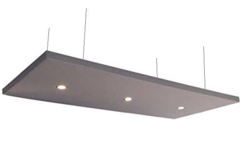 Horch Akustik Deckensegel mit 3 LED-Downlights, 240cm x 120cm x 5cm, 4000g/m², grau, Akustikvlies alternative zu Schaumstoff