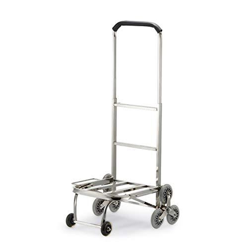 LHOME Einkaufswagen Einkaufswagen aus Edelstahl Gepäckwagen Klappbarer, tragbarer Supermarkt-Einkaufswagen Extra großer Sackkarre mit Rad