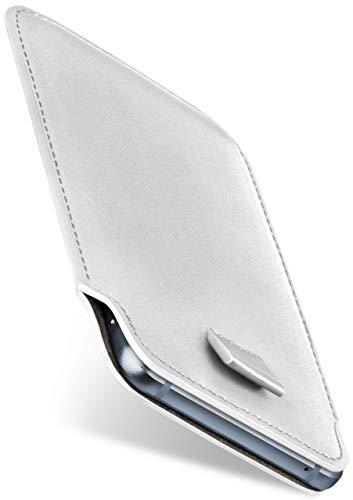 moex Slide Hülle für HP Elite x3 - Hülle zum Reinstecken, Etui Handytasche mit Ausziehhilfe, dünne Handyhülle aus edlem PU Leder - Weiß