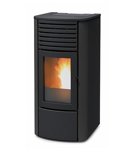 termoestufa A pellets MCZ Clio Hydro 23de 22,80KW, Ventilación frontal, Negro