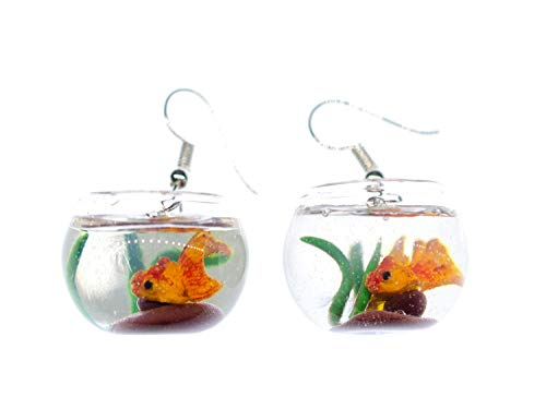 Miniblings Goldfisch im Glas Aquarium Ohrringe - Handmade Modeschmuck I Goldfischglas Glas Vase - Ohrhänger Ohrschmuck versilbert