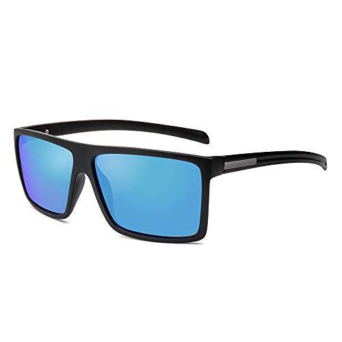 2020 VentiVenti Men's Classic Style Square Polarized Sunglasses Plastic Lightweight Eyewear UV Protection For Driving,Matte Black Frame/Blue Revo Lens