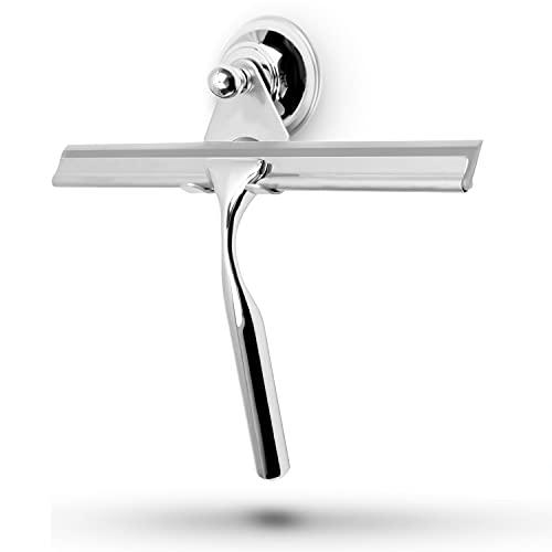 stracks® Edelstahl Duschabzieher - Kein Bohren! Duschwischer mit Saugnapfhalterung & 3M Kleber - Inkl. Silikon Wischlippe… (Grau)