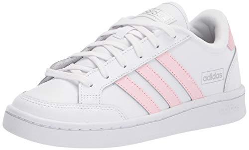adidas Women's Grand Court SE Sneaker, White/Clear Pink/Silver Metallic, 8