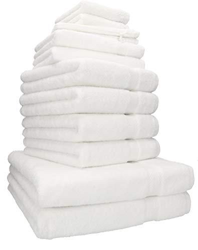 Betz 12-tlg. Handtuch-Set PREMIUM 95°C waschbar 100{493c51bde87c32836696da14e085ab5c6ff6cfe9ba85aa1a9a77605435255ba8} Baumwolle 2 Liegetücher 4 Handtücher 2 Gästetücher 2 Seiftücher 2 Waschhandschuhe Farbe weiß