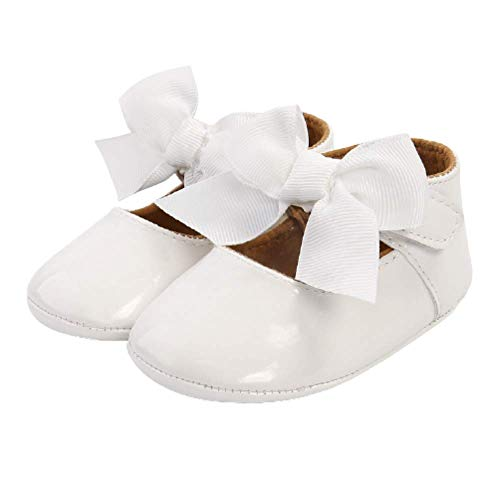 Zapatos de bebé niña Zapatos Recien Nacido Antideslizante Bailarinas Princesa Bowknot Bebé Niñas 0-18 Meses (6-12 Meses, Blanco)