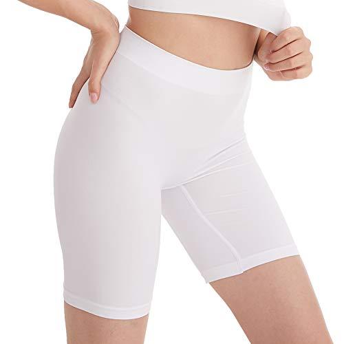 Amazingjoys Slip sans Couture Shorts Culotte sous-vêtement sous Robe pour Femmes,Blanc,Taille XL