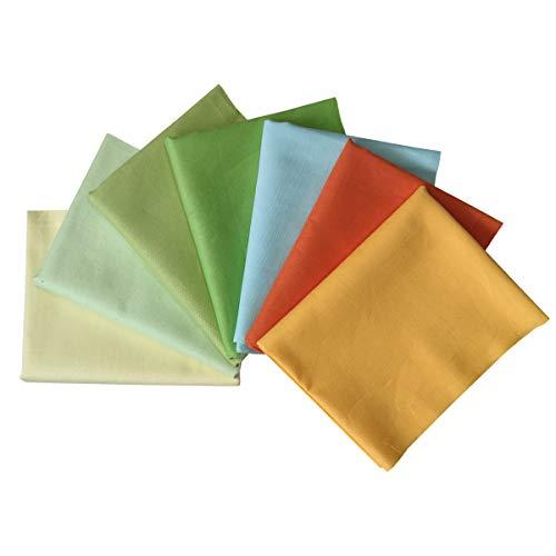 N A 7 Stück Baumwollstoff 100% Baumwolle Nähstoffe Patchwork DIY Stoffpaket Zugeschnittene Stoff Quadrate zum Nähen Handwerk Deko 46x56cm Reine Farben (Grün Frühling)