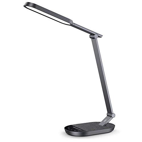 TaoTronics - LED-Schreibtischlampe, augenfreundlich, dimmbar, mit USB-Port 5 V/2 A, 5-Farben-Modus , Helligkeit verstellbar, Touch-Steuerung, Timer, Nachtlicht