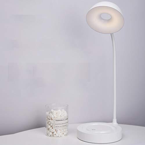 Lámpara De Escritorio Pequeña LED Protección para Los Ojos Carga USB Dormitorio del Estudiante Junto A La Cama Cama Táctil Lectura Y Aprendizaje Carga USB Dedicada Ahorro De Energía (Color : White)
