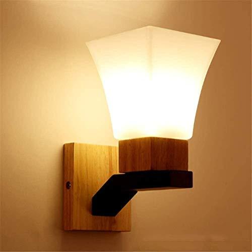 Aplique de pared industrial LED, Lámpara de pared de madera simple japonesa con sombra de vidrio Iluminación interior de pared E27 Dormitorio Lámpara de noche Linterna Luz de pared cableada para sala