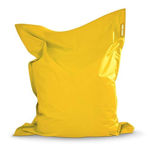 Green Bean © Square XXL Riesensitzsack 140x180 cm - 380L - Indoor Outdoor - waschbar, ergonomisch, doppelt vernäht, extrem robust, Abnehmbarer Bezug - Lounge Chair für Kinder und Erwachsene - Gelb