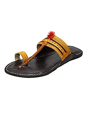 KALAPURI Ladies Comfortable Kolhapuri Chappal in Export Quality Genuine Leather with Black Pointed Shape Base and Traditional Multi Colour Braids/Veni Upper. Handmade in Kolhapur