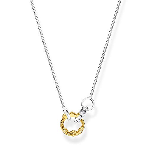 THOMAS SABO KE1987-849-7 Women's Necklace Crown Gold 925 Sterling Silver Blackened 750 Yellow Gold Plated