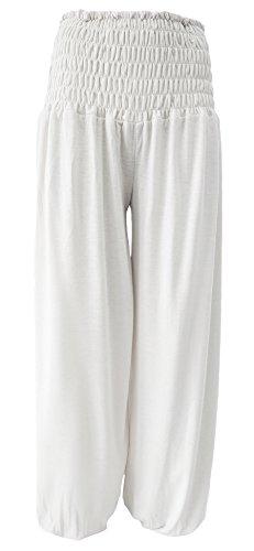 Unbekannt Umstandshose - Schlupfhose - Chill-Hose Haremshose Bundweite 35-60 cm Gr.S-XL (L - XL, Weiß)