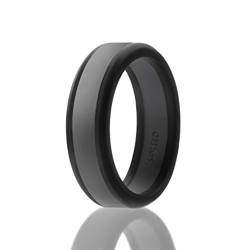 SOLEED Silicone Wedding Ring for Men (Power X Series), Safe and Sturdy Silicone Rubber Wedding Band Designed for Fitness - Black with Dark Grey, size 10