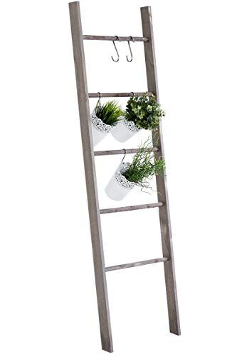 Escalera de Decoración Mariette I Escalera Decorativa de Madera con 5 Peldaños I Toallero en Estilo Rústico I Color:, Color:marrón Oscuro
