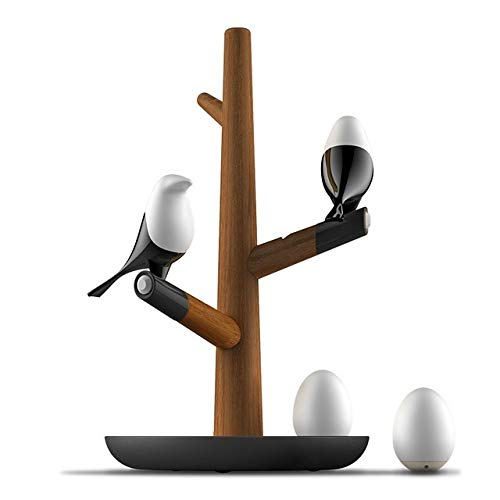 Zaklamp Lucky Bird LED Night tafellamp Wood Base Intelligent Motion Sensor Woonkamer Slaapkamer Desk Light (2 Vogels 1 Egg) Task Light for Room (Color : 2 Birds 2 Eggs)