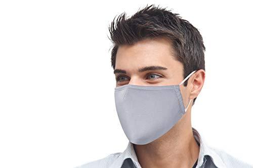 Mundschutz Maske 100% Baumwolle grau Mund- & Nasenmaske Unisex 3-lagig Wiederverwendbare Masken