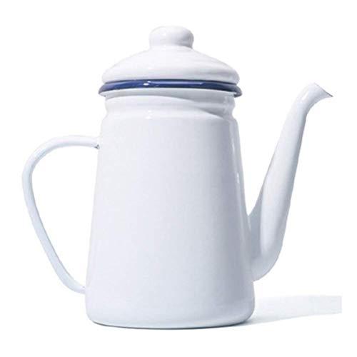 QZH Cafetera esmaltada portátil de 1,1 L para Verter sobre Leche, Jarra de Agua, Jarra, Tetera para Barista, para Cocina de Gas y Cocina de inducción (Color: AWhite)