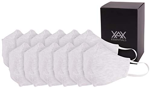 Reusable Washable Cotton Face Masks,3 Layered Protective, Breathable Masks for Adults White,Pack of 12