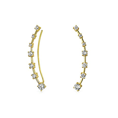 Minimalist Geometric Curved Ear Pin Climbers Earrings Round Cubic Zirconia CZ Crawlers 14K Gold Plate Sterling Silver