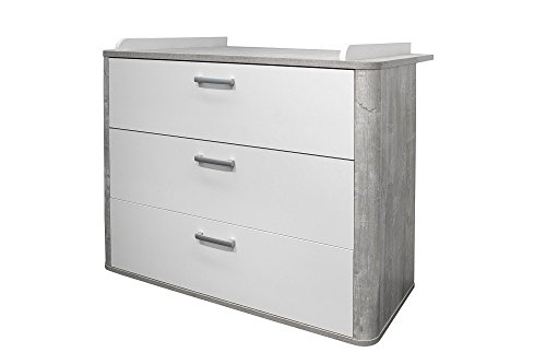 Wickelkommode Wickeltisch Vintage wood grey matt weiß Dekor Frieda
