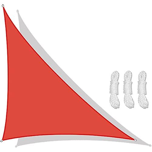 Triangular Velas De Sombra 3x4x5m Para Patio Toldos Exterior Terraza Con Cuerda Libre Protección Rayos UV Impermeable Para Patio Exteriores Jardín Balcón (color:rojo)(Size:4*4*5.7m(13.1*13.1*18.7ft))