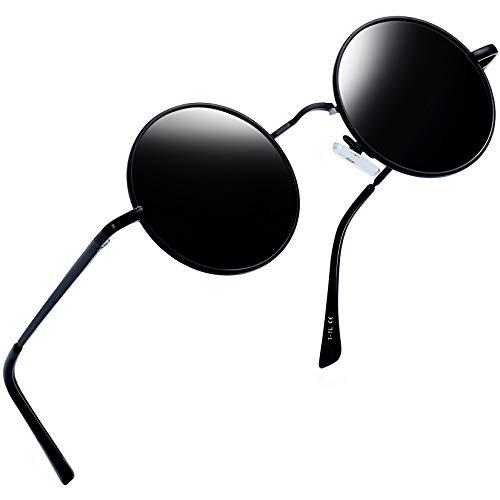 Joopin Occhiali da Sole Uomo e Donna Polarizzati Retro Piccoli Lennon Rotondi Tondi Circolari Protezione UV400 (Montatura Nera/Lente Polarizzate Neri)