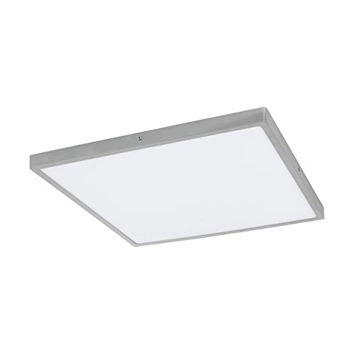 EGLO LED plafondlamp Fueva 1, 1 lamp plafondlamp, kleur: zilver, wit, L: 50x50 cm, neutraal wit, materiaal: aluminium, kunststof