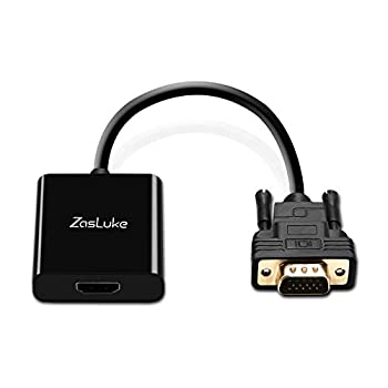 ZasLuke HDMI to VGA Converter Adapter HDMI Female to VGA Male Converter with 3.5mm Audio Jack and Micro USB Power Cable for TV Stick Xbox 360 PS4 Roku Laptop and More  Only from HDMI to VGA