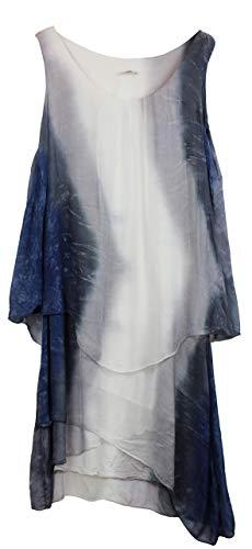 BZNA Ibiza Batik Empire Lagenjurk zomerjurk blauw wit grijs 100% zijden jurk bozana zomer herfst zijden jurk dames jurk elegant