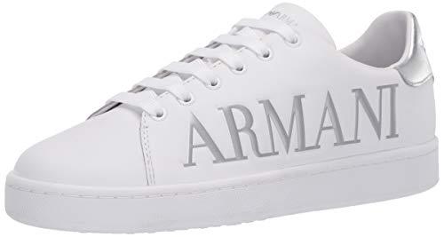 Emporio Armani Damen Emporio Logo Flat Sneaker Turnschuh, Weiß + Silber, 39 EU