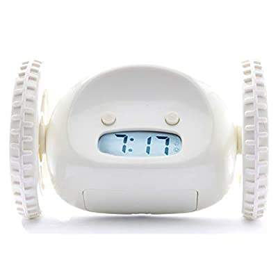 Clocky Alarm Clock on Wheels (Original) | Extra Loud for Heavy Sleeper (Adult or Kid Bed-Room Robot Clockie) Funny, Rolling, Run-away, Moving, Jumping (White) from CLOCKY