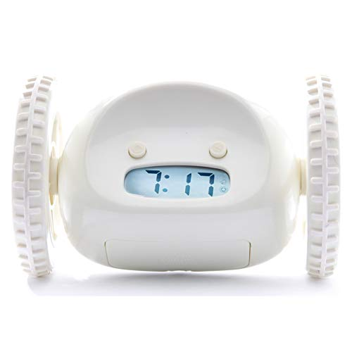 Clocky Alarm Clock on Wheels (Original) | Extra Loud for Heavy Sleeper (Adult or Kid Bed-Room Robot Clockie) Funny, Rolling, Run-away, Moving, Jumping (White)