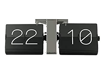 Karlsson Flip Clock No Case Black Chrome Stand Steel 8.5 x 36 x 14 cm