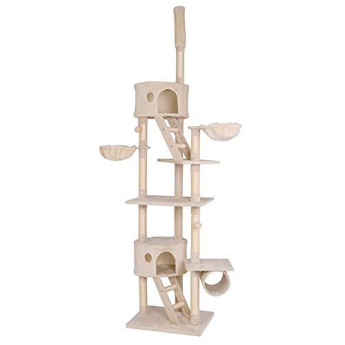 lionto by dibea Tiragraffi per gatto albero tiragraffi gatto gioco giocattolo gatti regolabile in Altezza 230-250 cm Beige