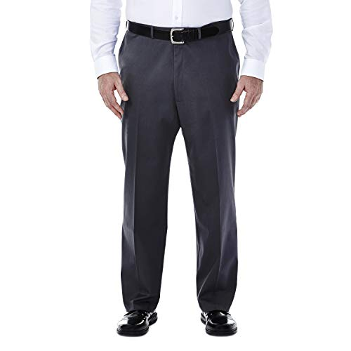 Haggar Men's Big-Tall Premium No Iron Classic Fit Expandable Waist Plain Front Pant Dark Grey 50x29