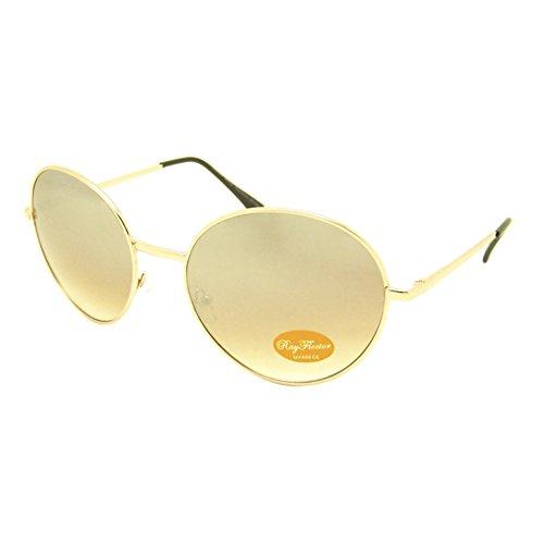 Chic-Net Subke Sun Glasses 400UV Lunettes de soleil rondes de haute qualité Doré Taille moyenne