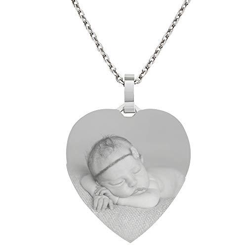 Silber Kette & Anhänger Herz mit eigener Fotogravur/Bildgravur echt Silber 925