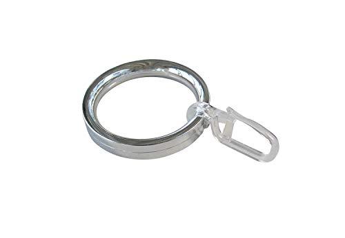 Gardinenringe Vorhangringe Flachringe mit Faltenhaken - Ring Ø 32 x 43 mm für Gardinenstangen Ø 20 mm - Kunststoff chrom glänzend lackiert - 10 Stück