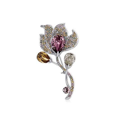 XinQing-Broche Crystal Flower Broche for niña, Traje de Vestir, Colgante de Chaqueta con Accesorios, for Fiesta, Boda, Caja de Regalo 7.3x4cm (Color : Pink)