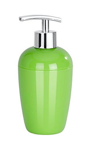 WENKO Seifenspender Cocktail Grün - Flüssigseifen-Spender, Spülmittel-Spender Fassungsvermögen: 0.43 l, Polystyrol, 8 x 17.5 x 8 cm, Grün