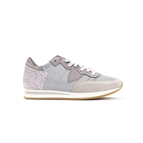 Philippe Model Sneakers Tropez L DFILET Scarpa Glitter Made in Italy Donna TRLDNG (Grigio, Numeric_40)
