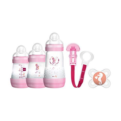 MAM Welcome to the World Geschenke-Set, Baby Erstausstattung mit 3 Anti-Colic Flaschen, Schnuller und Schnullerband, Baby Geschenk Set, ab der Geburt, Katzenmotiv, rosa