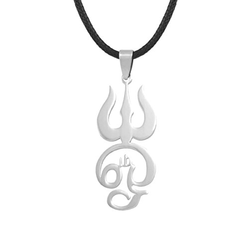 Tamil OM Buchstabe mit Shiva Trishula Aum Edelstahl Anhänger Leder Schnur Halskette