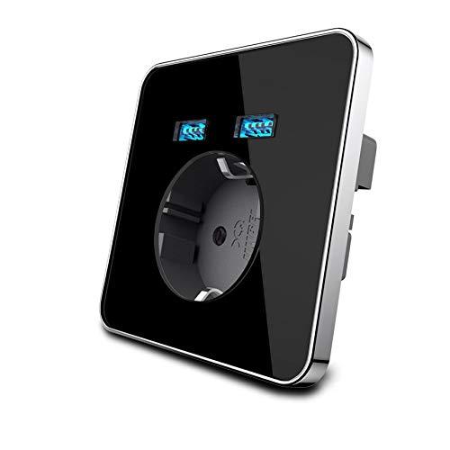 wkd-thvb Panel de Cristal Blanco 2A Puerto USB Dual Adaptador de Cargador de Pared Enchufe de Carga con Adaptador de Pared USB Enchufe de la UE Black-Grey 110-250V EU