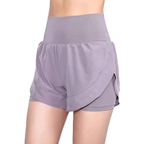 Fainash Pantalones Cortos Deportivos con Costura de Cintura Alta para Mujer, Pantalones Cortos Deportivos básicos de Entrenamiento para Correr al Aire Libre, Ajustados a la Moda, de Secado rápido L