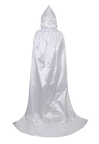 Full Length Unisex Tunic Hooded Robe Cloak Adult Halloween Costume for Men Cosplay Capes White Medium