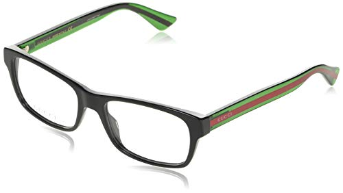 Gucci GG 0006O 006 Black/Green Plastic Rectangle Eyeglasses 55mm